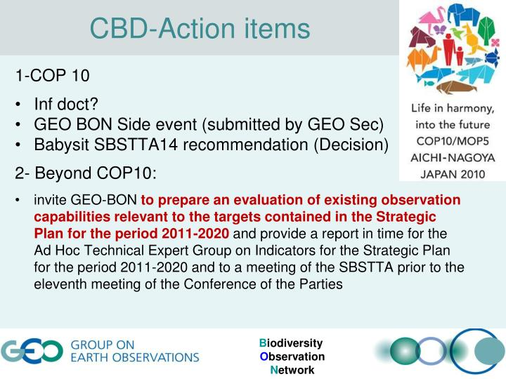 CBD-Action items