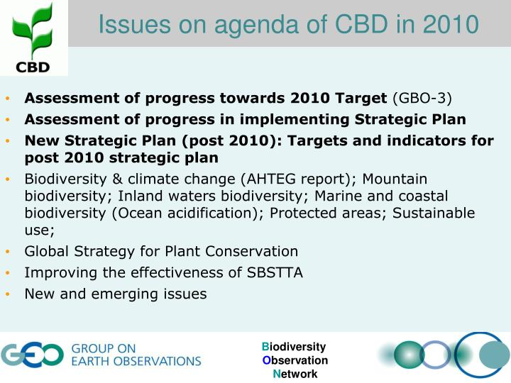 Issues on agenda of CBD in 2010