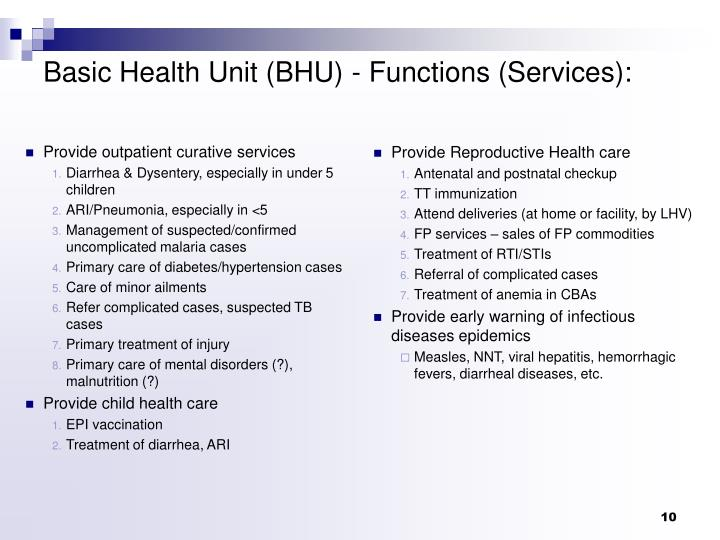 Provide outpatient curative services