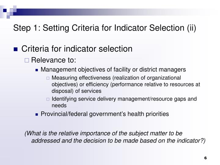 Step 1: Setting Criteria for Indicator Selection (ii)