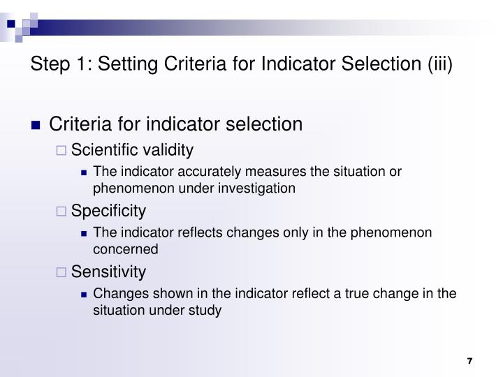 Step 1: Setting Criteria for Indicator Selection (iii)