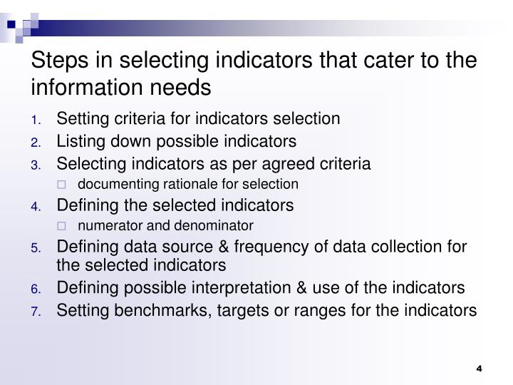 Steps in selecting indicators that cater to the information needs