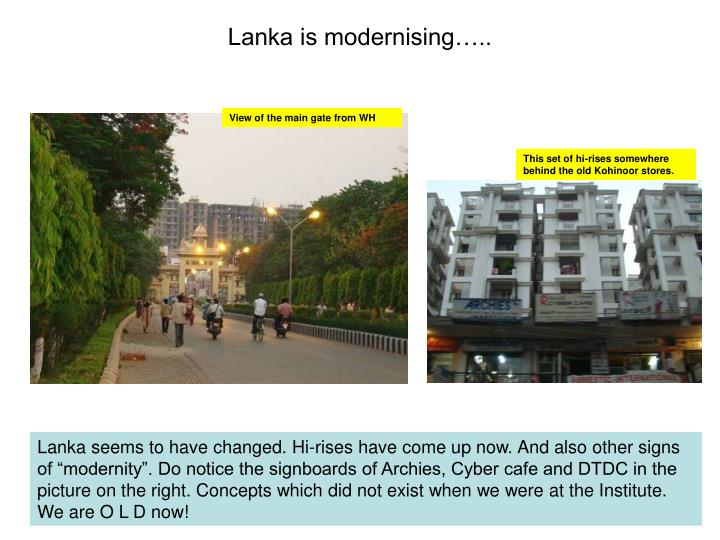 Lanka is modernising…..