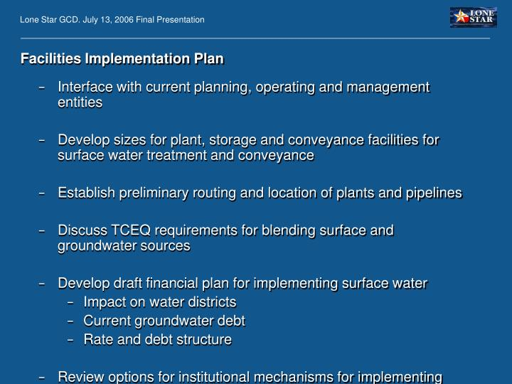 Facilities Implementation Plan