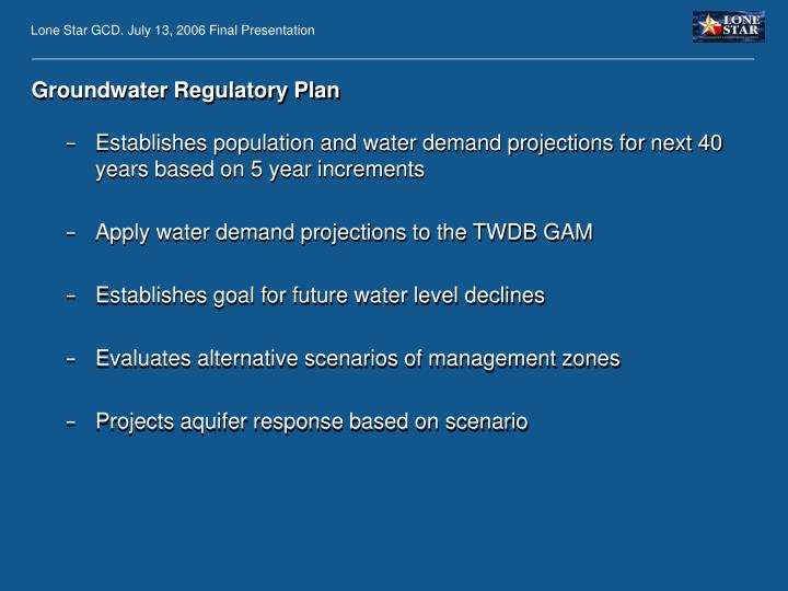 Groundwater Regulatory Plan