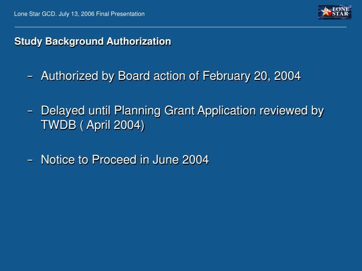 Study Background Authorization