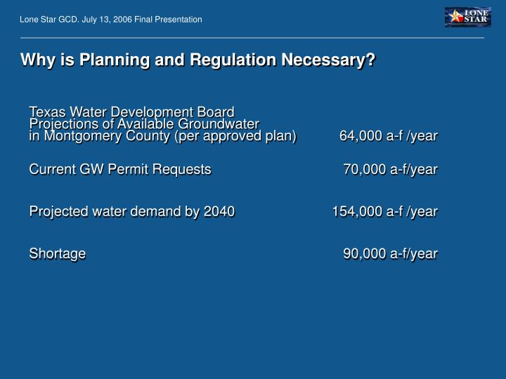 Why is Planning and Regulation Necessary?