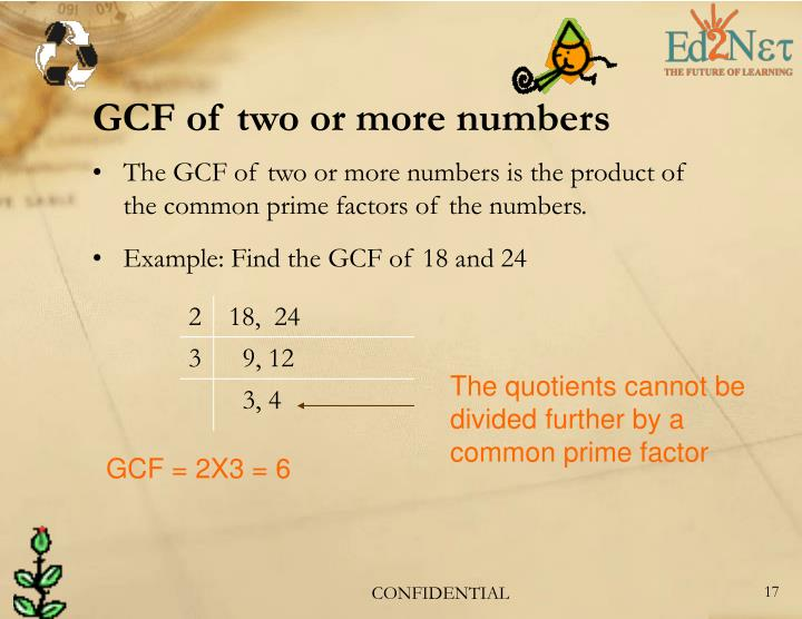 GCF of two or more numbers