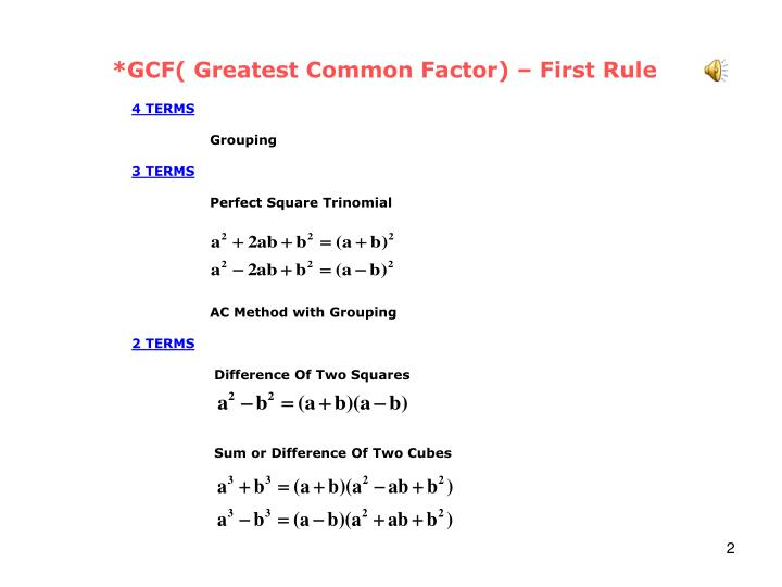 *GCF( Greatest Common Factor) – First Rule