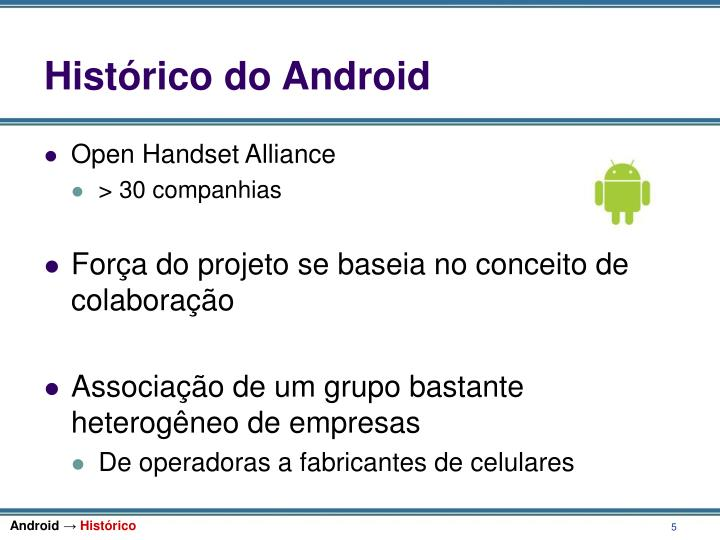 Histórico do Android