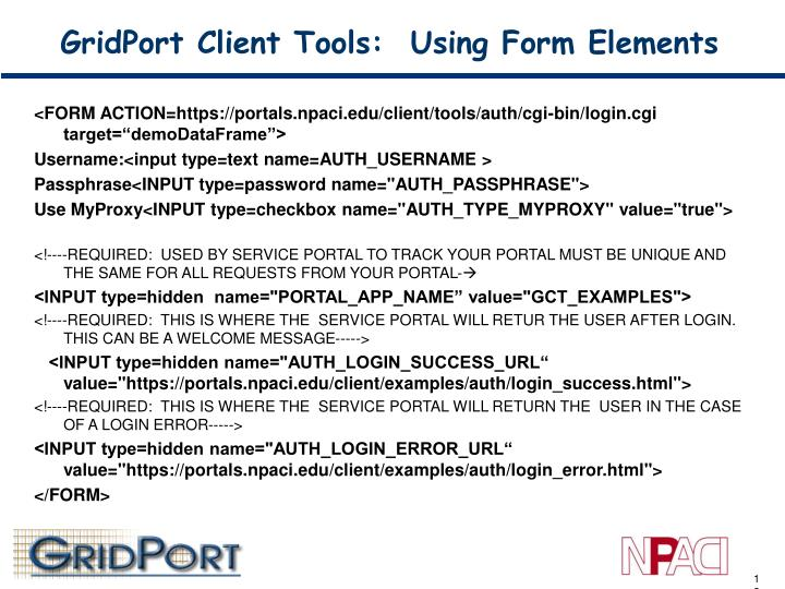 GridPort Client Tools:  Using Form Elements