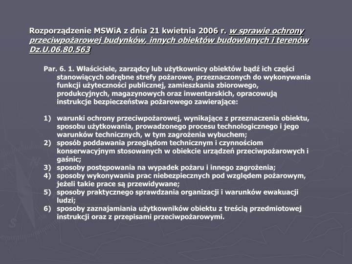 Rozporządzenie MSWiA z dnia 21 kwietnia 2006 r.