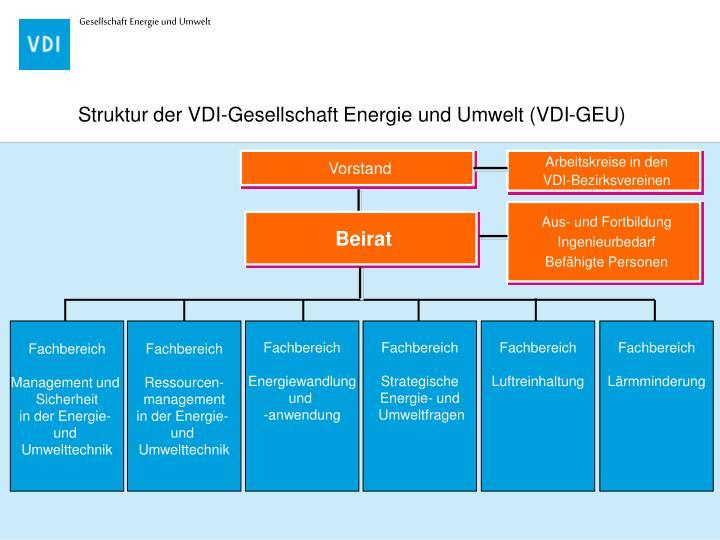 Struktur der VDI-Gesellschaft Energie und Umwelt (VDI-GEU)