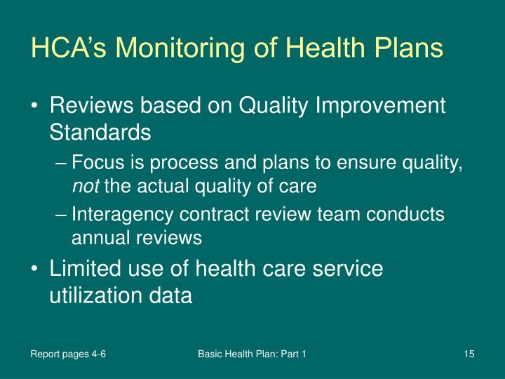 HCA's Monitoring of Health Plans