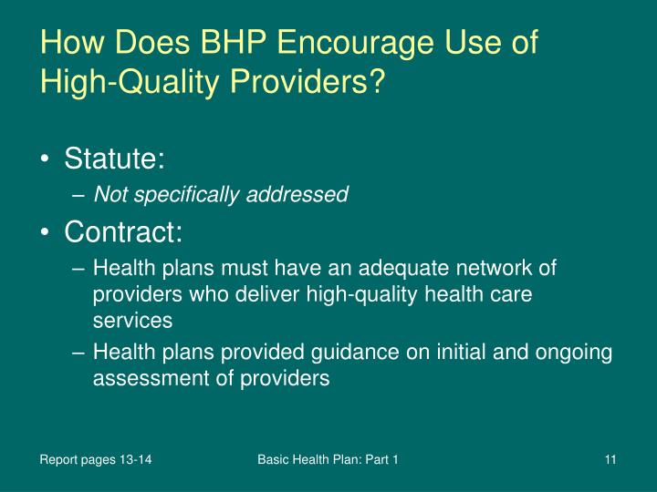 How Does BHP Encourage Use of High-Quality Providers?