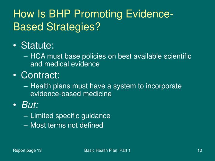 How Is BHP Promoting Evidence-Based Strategies?