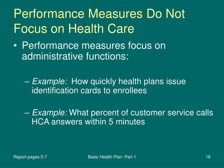 Performance Measures Do Not Focus on Health Care