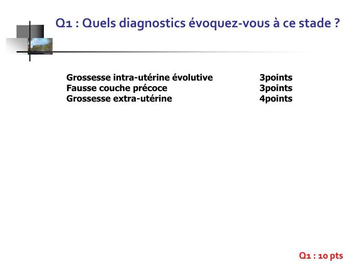 Q1 : Quels diagnostics évoquez-vous à ce stade?