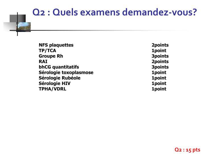 Q2 : Quels examens demandez-vous?