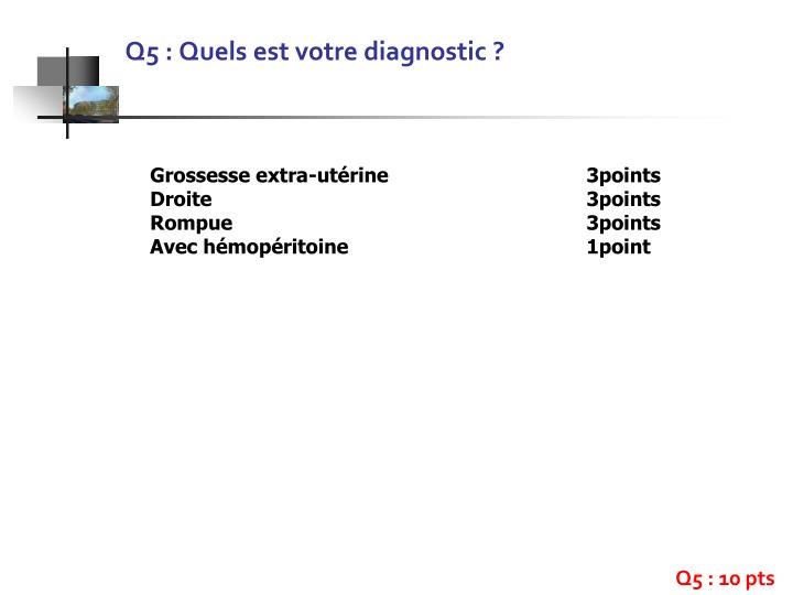 Q5 : Quels est votre diagnostic ?