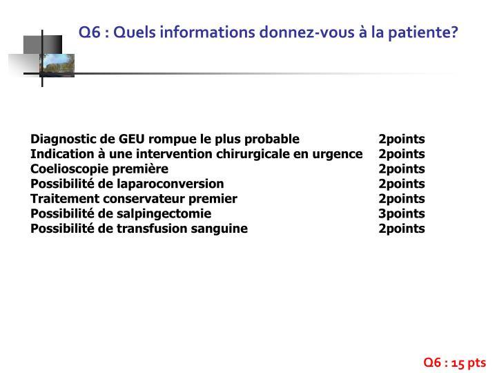 Q6 : Quels informations donnez-vous à la patiente?