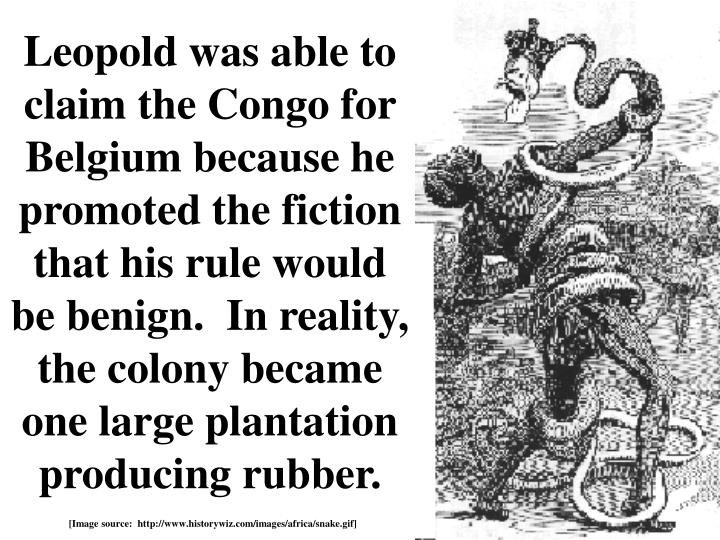 Leopold was able to claim the Congo for Belgium because he promoted the fiction that his rule would be benign.  In reality, the colony became one large plantation producing rubber.