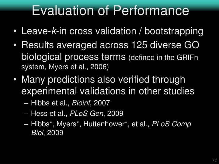 Evaluation of Performance