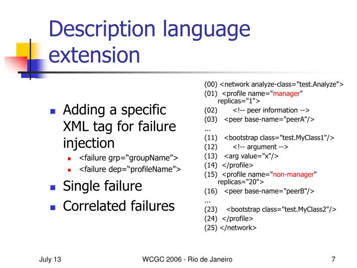 Adding a specific XML tag for failure injection