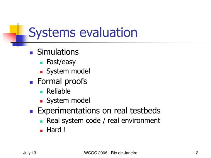 Systems evaluation