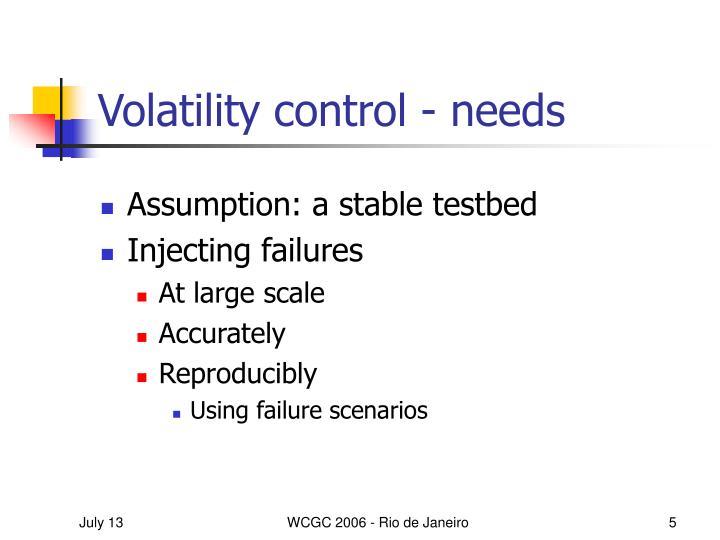 Volatility control - needs