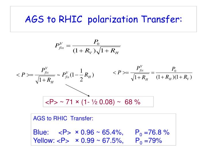 AGS to RHIC  polarization Transfer: