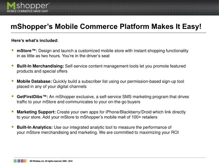 mShopper's Mobile Commerce Platform Makes It Easy!