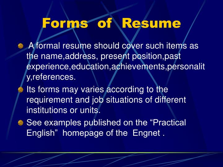 Forms of resume