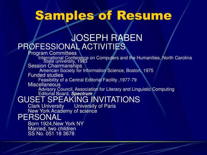 Samples of Resume