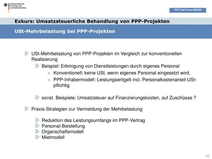 Exkurs: Umsatzsteuerliche Behandlung von PPP-Projekten