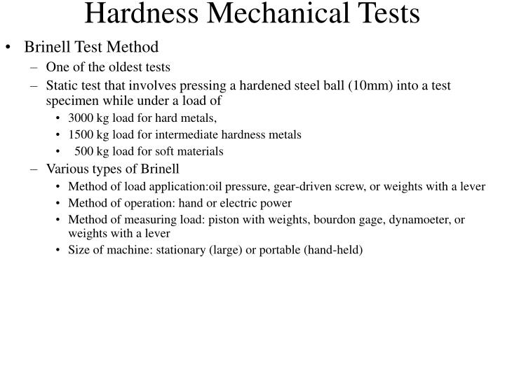Hardness Mechanical Tests