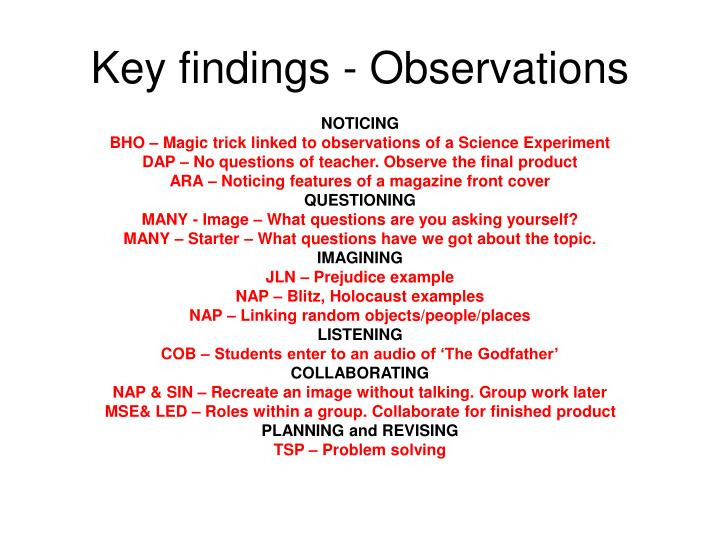 Key findings - Observations