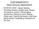 our manifesto now done by department