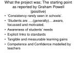 what the project was the starting point as reported by graham powell positive