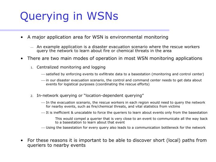 Querying in wsns
