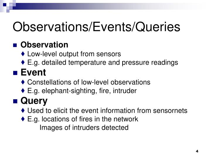 Observations/Events/Queries