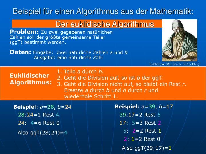 Beispiel für einen Algorithmus aus der Mathematik: