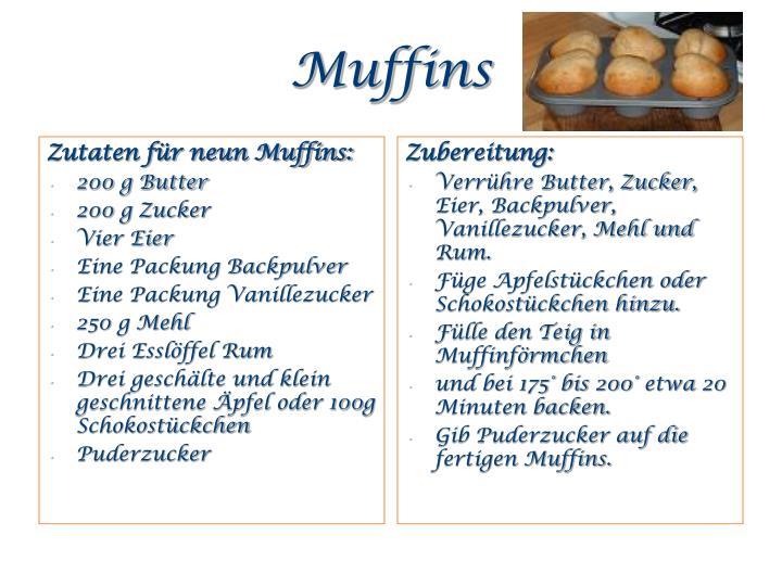 Zutaten für neun Muffins: