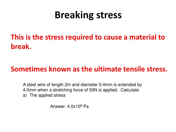 Breaking stress