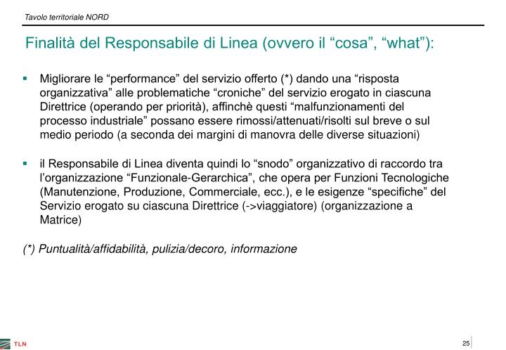 """Finalità del Responsabile di Linea (ovvero il """"cosa"""", """"what""""):"""