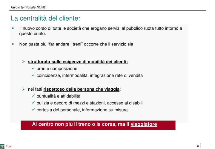 La centralità del cliente: