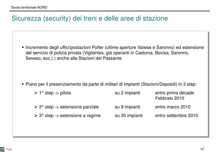 Sicurezza (security) dei treni e delle aree di stazione
