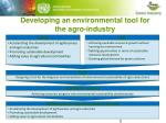 developing an environmental tool for the agro industry