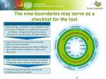 the nine boundaries may serve as a checklist for the tool