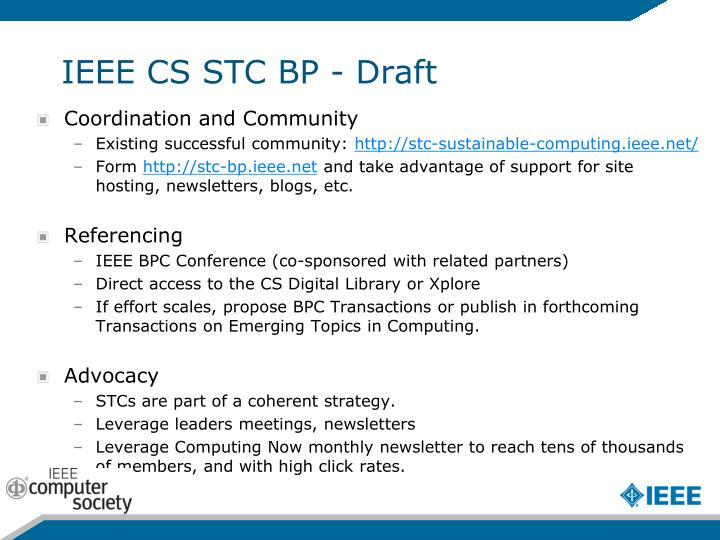 IEEE CS STC BP - Draft